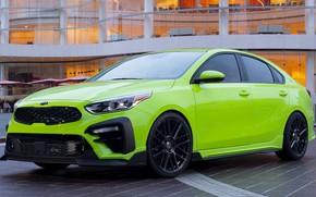Picture car, green, lights, tuning, drives, front, Kia, bumper, tuning, green, Kia, Kia Forte Federation