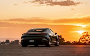 Picture the sky, black, Porsche, ass, 2020, Taycan, Taycan 4S