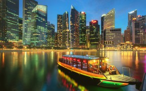 Picture boat, building, home, Bay, Singapore, night city, skyscrapers, Singapore, Marina Bay