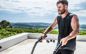 Picture look, hands, actor, ropes, model, pose, athlete, Chris Hemsworth, Chris Hemsworth, workout, fitness, crossfit, dumbbells …