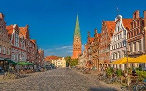 Picture road, building, home, Germany, cafe, architecture, Germany, bikes, Luneburg, St John's Church, Luneburg, Am Sande, …