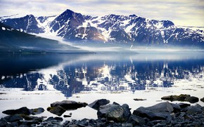 Picture winter, snow, mountains, fog, reflection, stones, rocks, shore, tops, Iceland, pond
