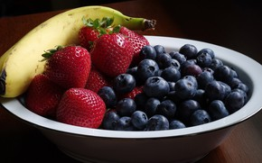 Picture table, blueberries, strawberry, berry, plate, banana