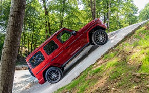 Picture red, Mercedes-Benz, slope, SUV, 4x4, G-Class, 2019