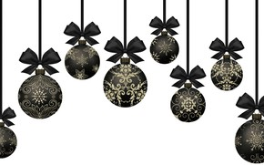 Picture balls, snowflakes, holiday, balls, pattern, vector, Christmas, white background, New year, ornament, a lot, black, …