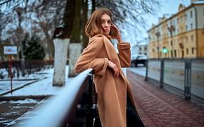 Picture winter, look, girl, street, brown hair, coat, Serge Zhodik, Zhodik Serge