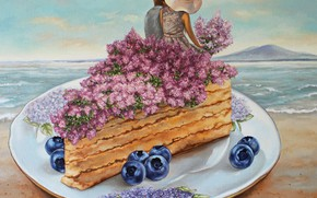 Picture sea, girl, flowers, blueberries, plate, cake, male, lovers