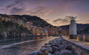 Picture stones, lighthouse, building, home, Bay, Italy, Italy, Camogli, Liguria, Liguria, Camogli
