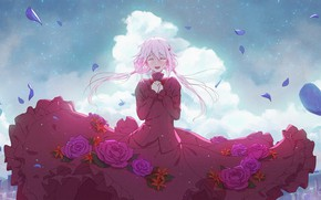 Picture red dress, rose petals, blue sky, pink hair, Guilty Crown, singing, Yuzuriha Inori, red roses, …