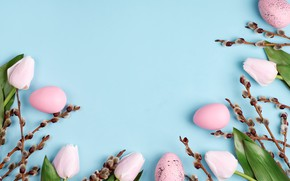 Picture flowers, branches, background, holiday, eggs, Easter, Verba