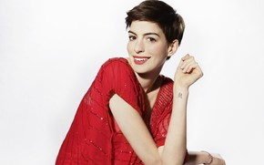 Picture look, pose, makeup, actress, tattoo, singer, with short hair, Anne Hathaway, Anne Hathaway