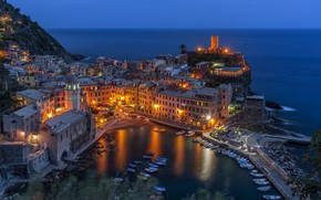 Picture lights, sea, night, Italy, home, Vernazza