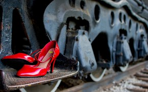 Picture the car, railroad, boots