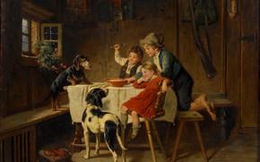 Picture Table, Children, Picture, Dogs, Dinner, Adolf Eberle, Adolf Eberle, Время ужина, Немецкий живописец