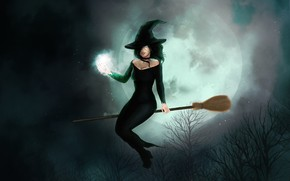 Picture Night, Figure, The moon, Witch, Halloween, Art, Illustration, Characters, Witch, Luna, Broom, by Azza Chaouch, …