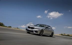 Picture the sky, asphalt, grey, speed, BMW, sedan, track, 4x4, 2018, four-door, M5, V8, F90, M5 …