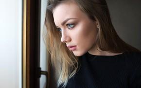 Picture close-up, model, portrait, makeup, hairstyle, brown hair, beauty, is, bokeh, window, Katya, Dmitry Sn, Dmitry …