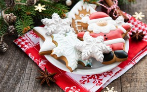 Picture new year, Christmas, plate, figures, ginger biscuits, Olena Rudo
