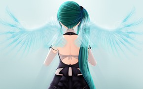 Picture girl, back, wings, angel, Virtual Youtuber