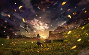 Picture girl, sunset, glade, piano, yellow flowers