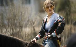 Picture girl, horse, jacket, Vogue, Gigi Hadid