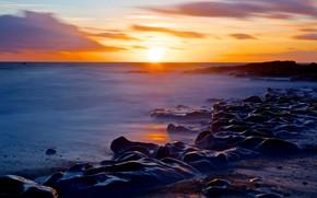 Picture sea, beach, the sky, the sun, clouds, sunset, stones, rocks, dawn, shore, the evening, horizon, …