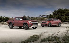 Picture Volkswagen, pickup, 2018, SUV, Atlas Tanoak Concept, Atlas Cross Sport