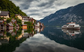 Picture mountains, lake, building, home, Austria, Alps, ship, Austria, Hallstatt, Alps, Lake Hallstatt, Hallstatt, Lake Hallstatt, …