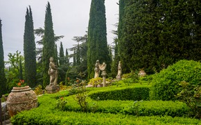 Picture summer, nature, Villa, garden, Italy, the bushes, Italy, nature, sculpture, garden, Tuscany