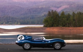 Picture side view, Race car, Retro, Jaguar D-Type