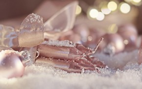 Picture snow, holiday, new year, Christmas, candles, bokeh, Christmas decorations