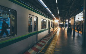 Picture Japan, Station, People, Train, Peron, Railroad, The car