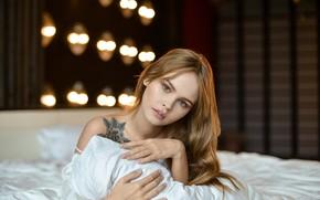 Picture girl, model, hair, tattoo, blonde, Anastasia Shcheglova, Dmitry Levykin