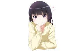 Picture look, girl, hearts, white background, Oreimo