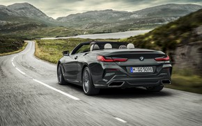 Picture road, BMW, convertible, rear view, xDrive, G14, 8-series, 2019, Eight, M850i Convertible