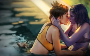 Picture Girls, Kiss, The game, Pool, Blizzard, Art, Art, Sniper, Sexy, Figure, Amelie, Illustration, Character, Characters, …