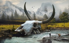Picture landscape, river, skull, bear, leash, guy