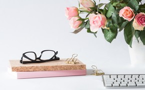 Picture roses, bouquet, glasses, vase, keyboard, notebooks