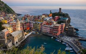 Wallpaper sea, city, coast, home, boats, Italy, Bay, sea, landscape, Italy, coast, panorama, beautiful, houses, Vernazza, ...