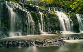 Picture river, waterfall, New Zealand, cascade, New Zealand, Purakaunui River, Catlins, Purakanui Falls, Catlins, River Purakaunui, …