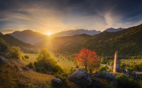 Picture the sun, rays, landscape, mountains, nature, river, stones, tower, valley, boulders, Ingushetia, Даниил Коржонов