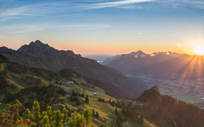 Picture the sun, clouds, rays, light, mountains, fog, blue, dawn, hills, the slopes, view, height, dal, …