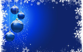 Picture winter, snowflakes, blue, background, holiday, balls, Christmas, christmas, baubles