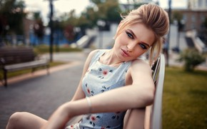 Picture look, pose, model, portrait, makeup, dress, hairstyle, blonde, beauty, sitting, bokeh, Anya, on the bench, …