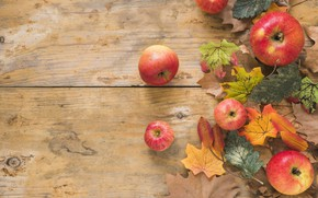 Picture autumn, leaves, background, apples, Board, colorful, maple, wood, background, autumn, leaves, autumn, apples, maple