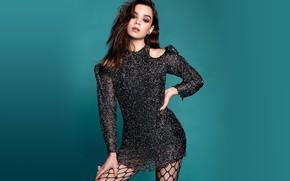Picture look, girl, pose, background, mesh, hair, figure, dress, beauty, Hailee Steinfeld