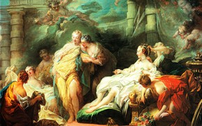 Picture picture, mythology, Jean-Honore Fragonard, Jean-Honore Fragonard, Psyche shows her sisters the gifts of the Amur
