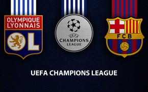 Picture wallpaper, sport, logo, football, Barcelona, UEFA Champions League, Olympique Lyonnais, Olympique Lyonnais vs Barcelona