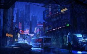 Picture The city, Future, Neon, Skyscrapers, City, Bus, Fantasy, Art, Art, Night, Rain, Neon, Future, The …
