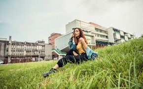 Picture grass, look, Asian, sitting